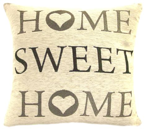 home sweet home images home sweet home 18 chenille cushion cover grey cream