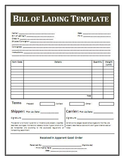 printable bill of lading template