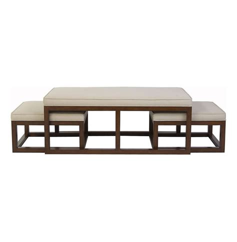 Table With Ottoman Chatham Brown Coffee Table Ottoman With Stools Linen Kathy Kuo Home