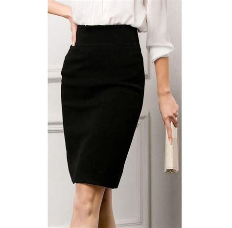 2014women black pencil skirt office wear high waisted