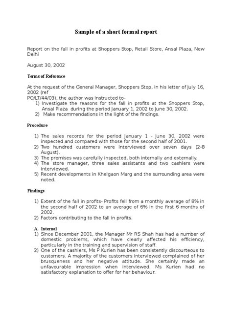 layout of a short formal report sle of a short formal report doc business marketing