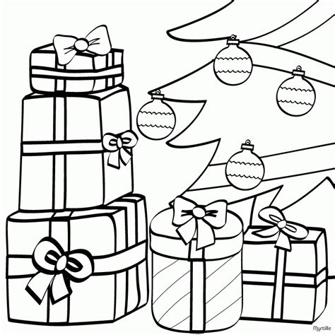 Christmas Tree Coloring Pages Wrapped Gifts And Xmas Tree Coloring Page Pdf