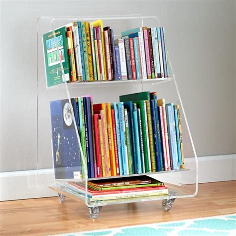 acrylic bookshelves now you see it acrylic book cart the land of nod