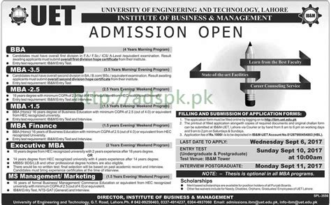 Mba Or Ms Management by Uet Admissions Open Lahore 2018 Bba Mba Executive Mba Ms