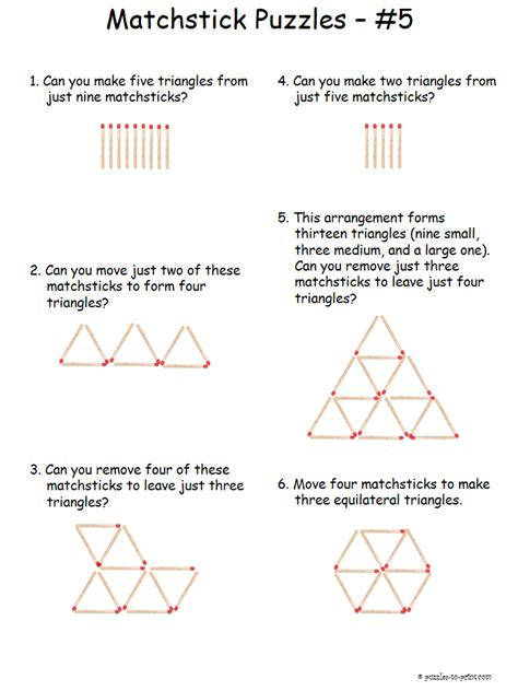 triangle pattern problem triangle matchstick puzzles
