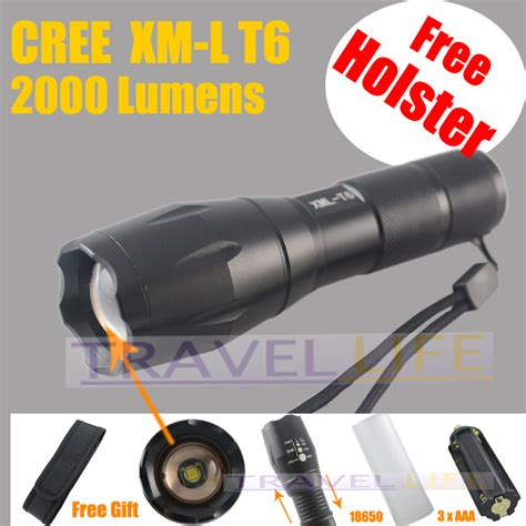 L Lumens by 2000 Lumens 5 Mode Cree Xm L T6 Led Flashlight Zoomable
