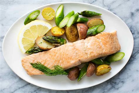 oven roasted salmon asparagus and new potatoes recipe