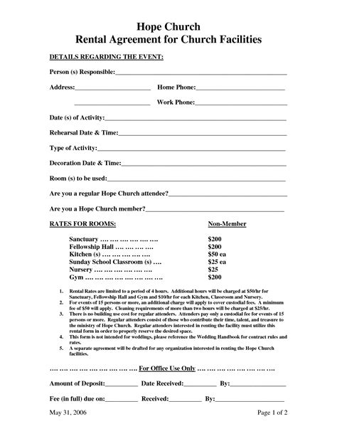 church hall rental agreement