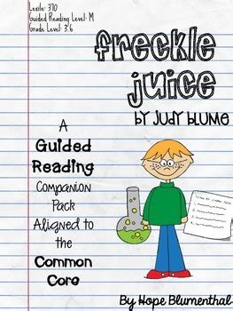 freckle juice book report freckle juice guided reading companion packet by