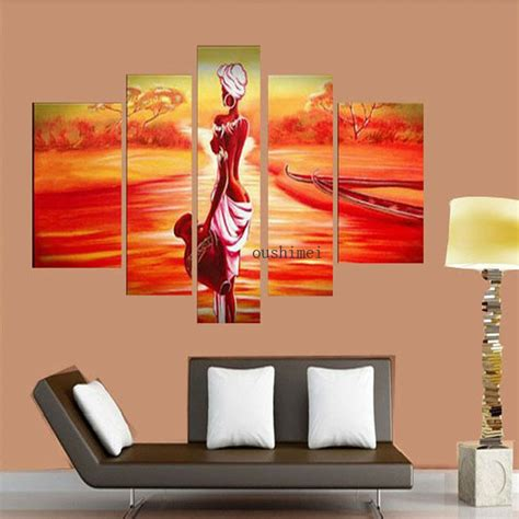 indian wall decor ideas painted india gril painting on canvas 5pcs set