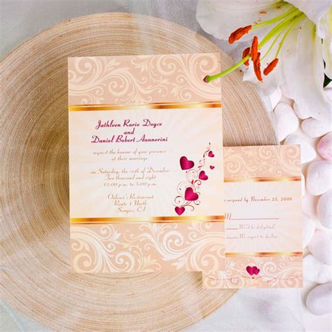 wedding invitations with hearts gold damask with hearts fall wedding