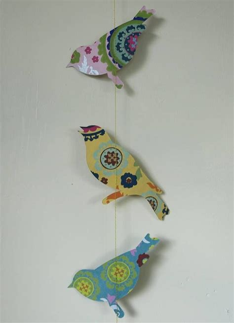 Handmade Paper Birds - handmade paper bird hanging string decoration paper