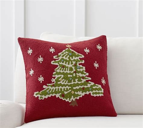 christmas tree crewel embroidered pillow cover pottery barn