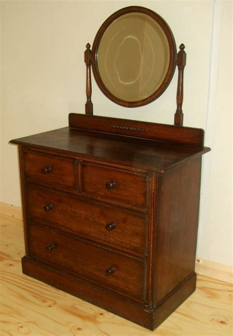 oak dressing chest of drawers with mirror 234470