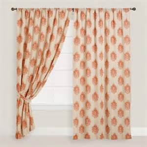 Concealed Tab Curtains Orange Damask Concealed Tab Top Curtains Set Of 2 World Market