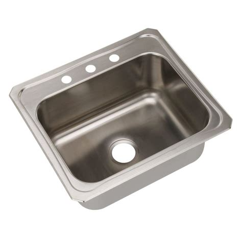 Drop In Sinks Kitchen Swan Dual Mount Composite 25 In 1 Single Bowl Kitchen Sink In Sky Ks02522sb 012