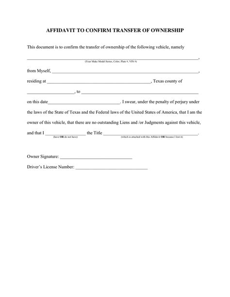 document transfer of business ownership receipt template word affidavit to confirm transfer of ownership in word and pdf