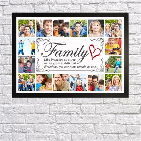 family collage frame family tree photo picture collage montage framed print