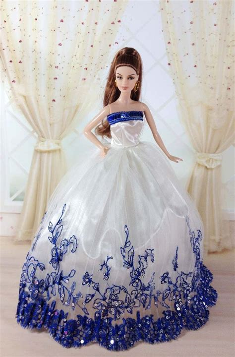 Barby Dress free shipping evening dress wedding gown skirt for doll in dolls accessories