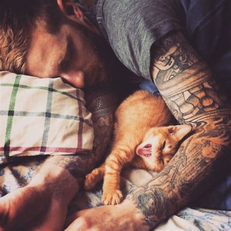 cat man tattoo died hot dudes with kittens instagram is what you need right