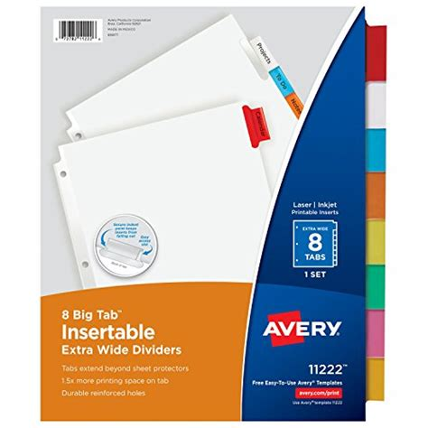Galleon Avery Big Tab Insertable Extra Wide Dividers 8 Multicolor Tabs 1 Set 11222 Avery Insertable Dividers Template