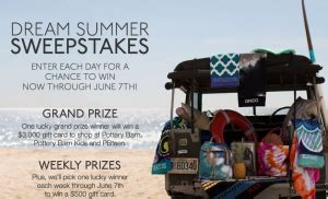 Pottery Barn Teen Gift Card - pottery barn dream summer sweepstakes win a 3 000 pottery barn gift card