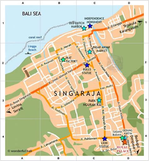 map singaraja bali singaraja map with streets and places to see
