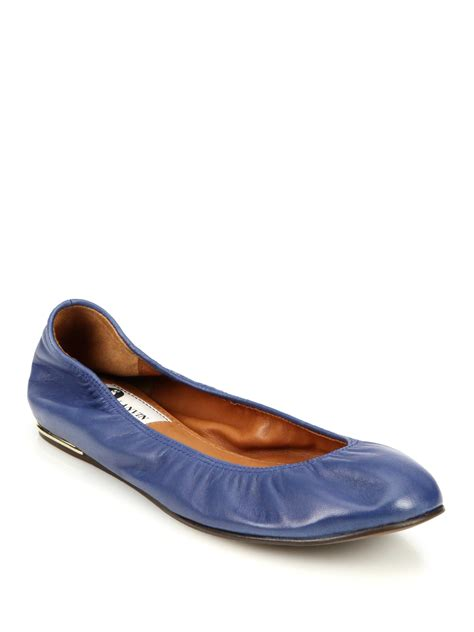 leather ballet flats lanvin classic leather ballet flats in blue lyst