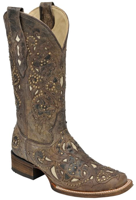 womans corral boots corral boots womens leather crater bone inlay brown studs