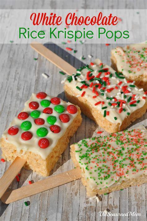 christmas snacks for preschool treats for the classroom white chocolate rice krispie pops the seasoned