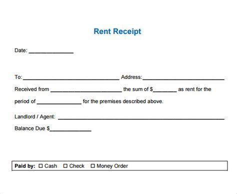 Rent Receipt Template Australia by Rental Receipt Template 39 Free Word Excel Pdf