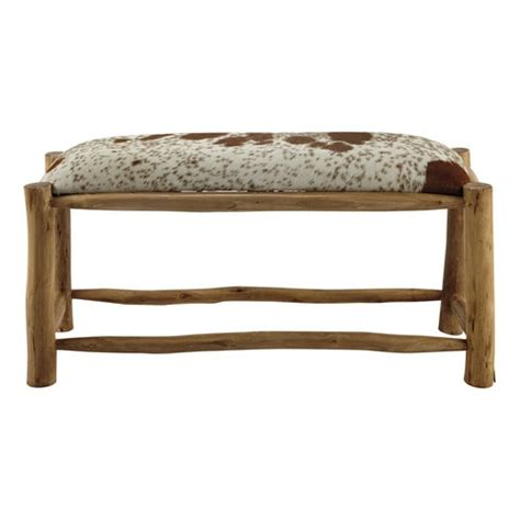 mango wood bench seat alpin mango wood and goatskin bench w 100cm maisons du monde