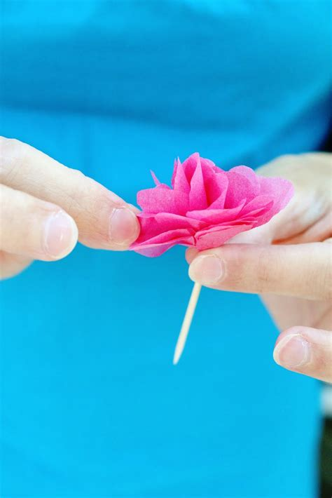 Diy Tissue Paper Crafts - diy tissue paper flower cupcake picks think crafts by