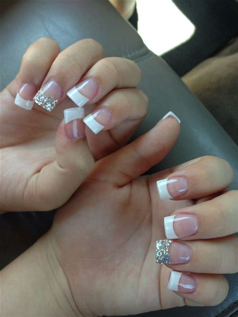 French Tip Nails with Silver