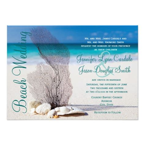beach seashells destination wedding invitations 4 5 quot x 6