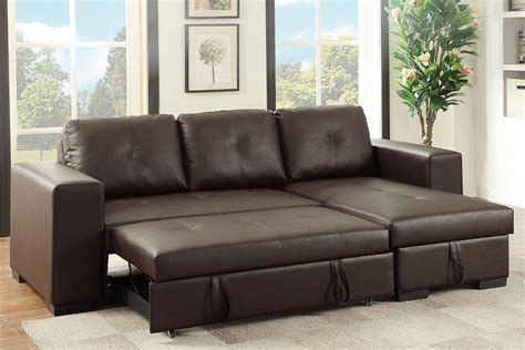 leather sectional sleeper sofa recliner poundex samo f6930 brown leather sectional sleeper sofa