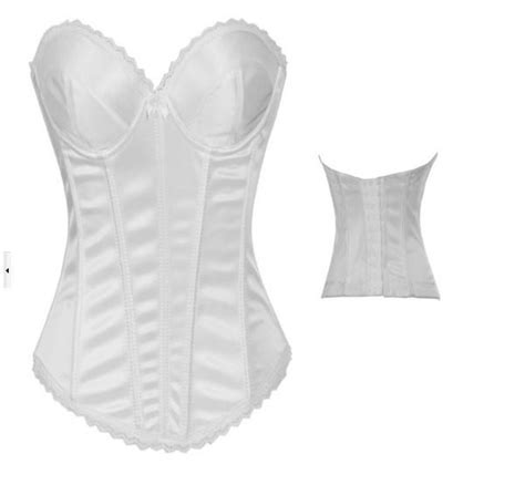 White Wedding Bridal Boned Overbust Corset Bustier Top