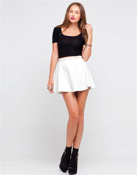 buy motel flute studded faux leather skirt in white at