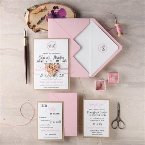 Pink Invitations Wedding by Blush Wedding Invitation Suite 20 Rustic Wedding