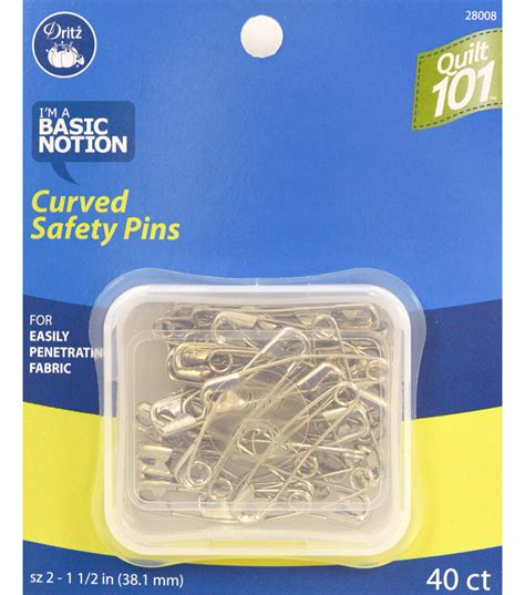 quilting 101 curved safety pins size 2 40 ct jo
