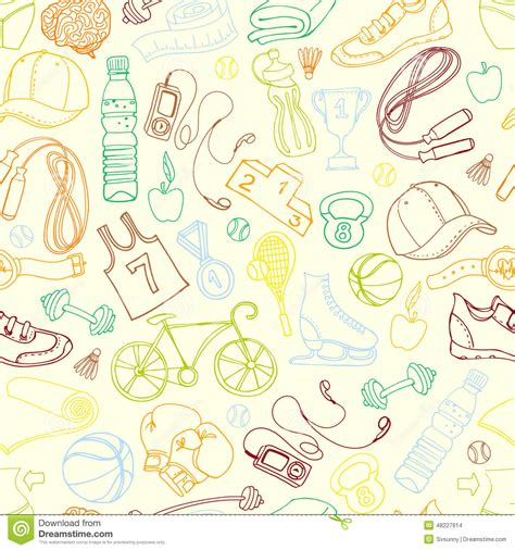 doodle jump x2 color sport and fitness seamless doodle pattern stock