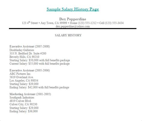9 sle salary history templates free word pdf
