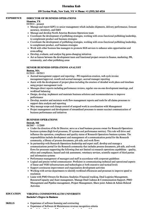 business operations resume sles velvet