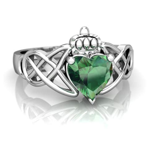 lab emerald claddagh celtic knot ring r2367 wcemr