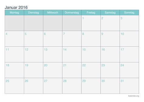 Kalender Ausdrucken Monat 2016 Kalender Monat