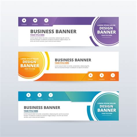 design banner online website abstract banners collection vector free download