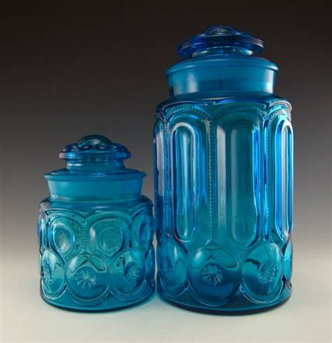 colored glass kitchen canisters retro glass blue moon and vintage glass canister