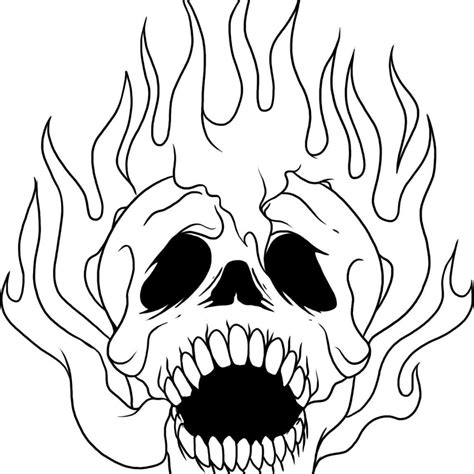 fire skull coloring page fire flames skull coloring pages coloringsuite com
