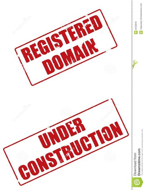 registered domain  construction stamps stock