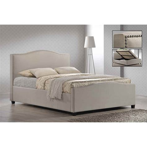 Side Bed Frame Chrome Studded Sand Fabric Side Ottoman Style Bed Frame King Size 5ft Free Next Day Delivery